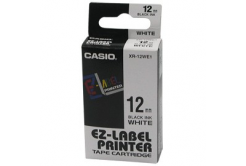 Casio XR-12WE1, 12mm x 8m, čierna tlač/biely podklad, originálna páska