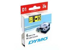 Dymo D1 43618, S0720790, 6 mm x 7m, čierna tlač/žltý podklad, originálna páska