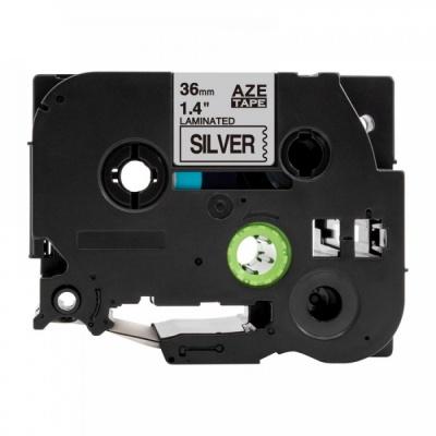 Kompatibilná páska s Brother TZ-961 / TZe-961, 36mm x 8m, čierna tlač / strieborný podklad