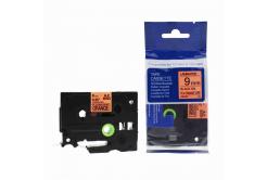 Kompatibilná páska s Brother TZ-B21/TZe-B21, signálne 9mm x 8m, čierna tlač/oranžový podklad