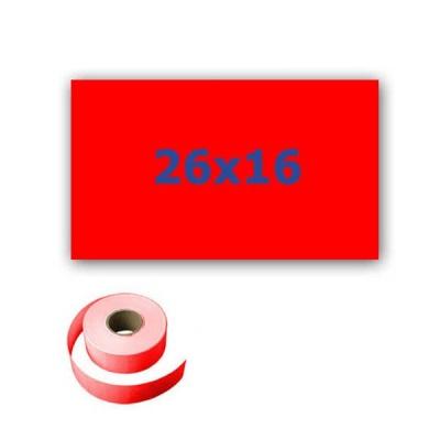 Cenové etikety do kleští, obdélníkové, 26mm x 16mm, 700ks, signální červené