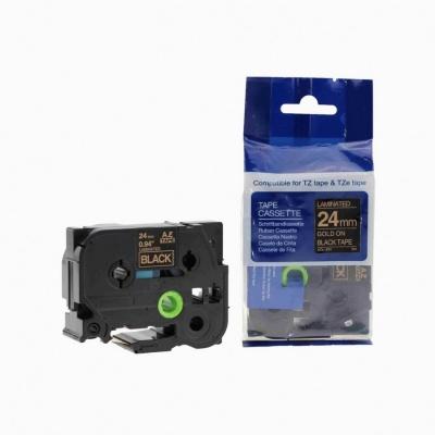 Kompatibilná páska s Brother TZ-354 / TZe-354, 24mm x 8m, zlatá tlač / čierny podklad