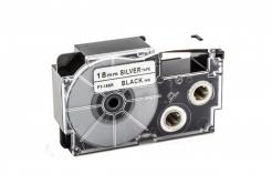 Kompatibilní páska s Casio XR-18SR1 18mm x 8m černý tisk / stříbrný podklad