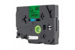Kompatibilná páska s Brother TZ-FX721 / TZe-FX721, 9mm x 8m, flexi, čierna tlač / zelený podklad