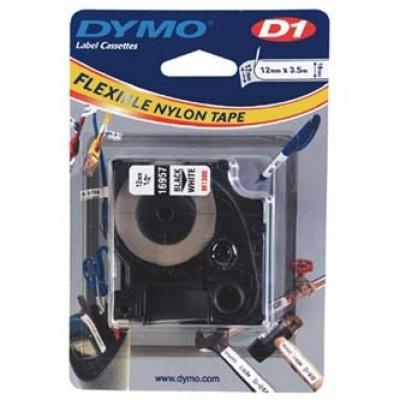 Dymo D1 16957, S0718040, 12mm x 3,5 m, čierna tlač/biely podklad, originálná páska