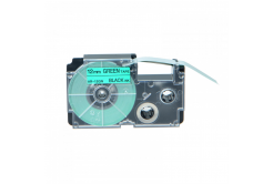 Kompatibilná páska s Casio XR-12GN1, 12mm x 8m, čierna tlač/zelený podklad