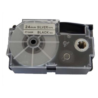 Kompatibilná páska s Casio XR-24SR1 24mm x 8m čierny tisk / strieborný podklad