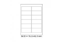 Samolepicí etikety 96 x 42,3 mm, 12 etiket, A4, 100 listů