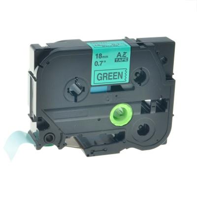 Brother TZe-V741, 18mm x 5,5m, černý tisk / zelený podklad, vinyl, kompatibilní páska