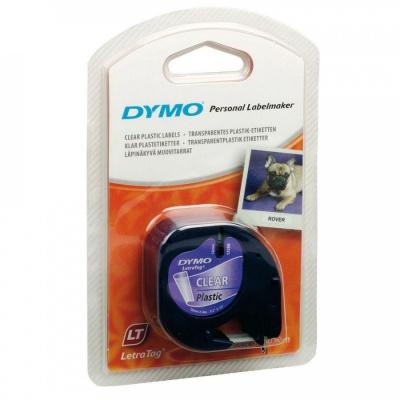 Dymo LetraTag 12267, S0721530, 12mm x 4m, čierna tlač/priehľadný podklad, originálna páska