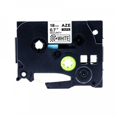 Kompatibilná páska s Brother TZ-SE4/TZe-SE4, 18mm x 8m plombovacie, čierna tlač/biely podklad