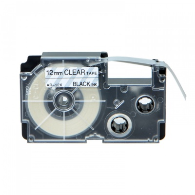 Kompatibilná páska s Casio XR-12X1, 12mm x 8m, čierna tlač/priehľadný podklad