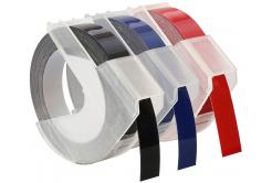 Kompatibilná páska s Dymo S0847750, 9mm x 3 m, biela tlač/čierný, modrý, červená