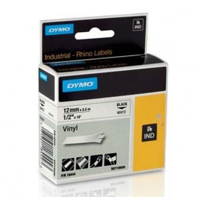 Dymo D1 18444, S0718600, 12mm x 5,5m čierna tlač / biely podklad, originálná páska