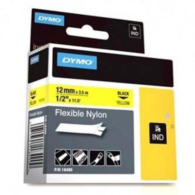 Dymo Rhino 18490, S0718080, 12mm x 3,5m čierna tlač / žltý podklad, originálna páska