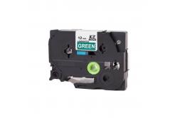 Kompatibilná páska s Brother TZ-735 / TZe-735, 12mm x 8m, biela tlač / zelený podklad