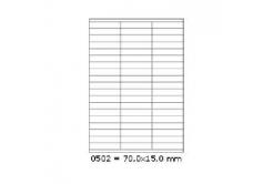 Samolepiace etikety 70 x 15 mm, 57 etikiet, A4, 100 listov