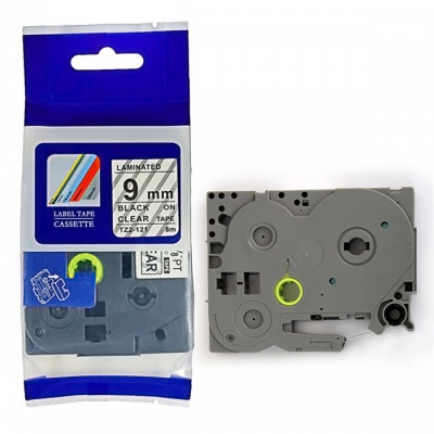 Kompatibilná páska s Brother TZ-FX121 / TZe-FX121, 9mm x 8m, flexi, čierna tlač / priehľadný podklad