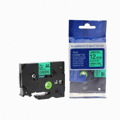 Kompatibilná páska s Brother TZ-731 / TZe-731, 12mm x 8m, čierna tlač / zelený podklad