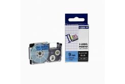 Kompatibilná páska s Casio XR-9BU1, 9mm x 8m, čierna tlač/modrý podklad