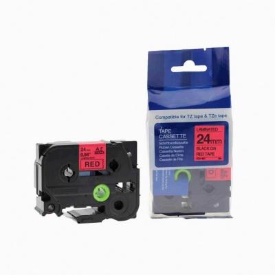 Kompatibilná páska s Brother TZ-451 / TZe-451, 24mm x 8m, čierna tlač / červený podklad