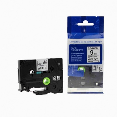 Kompatibilná páska s Brother TZ-FX221/TZe-FX221, 9mm x 8m, flexi, čierna tlač/biely podklad