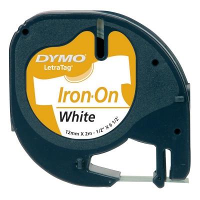 Dymo originálna páska do tiskárny štítků, Dymo, S0718850, čierna tlač/biely podklad, 2m, 12mm, LetraTag nažehlovací páska
