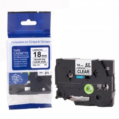 Kompatibilná páska s Brother TZ-S141/TZe-S141, 18mm x 8m,extr.adh. čierny tisk/čirý podklad