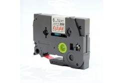 Kompatibilná páska s Brother TZ-112 / TZe-112, 6mm x 8m, červená tlač / priehľadný podklad