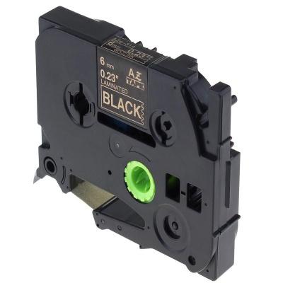 Kompatibilná páska s Brother TZ-314 / TZe-314, 6mm x 8m, zlatá tlač / čierny podklad