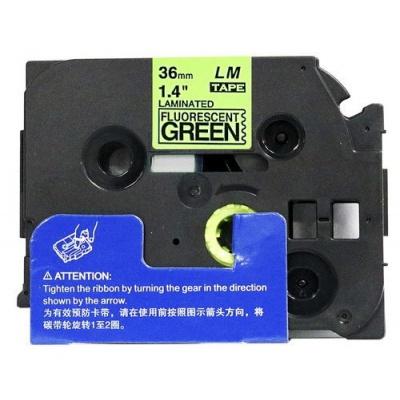 Kompatibilná páska s Brother TZ-D61/TZe-D61, signálne 36mm x 8m, čierna tlač/zelený podklad