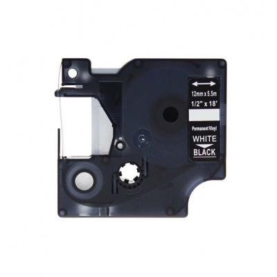 Kompatibilná páska s Dymo 1805435, Rhino, 12mm x 5,5m biela tlač / čierny podklad, vinyl