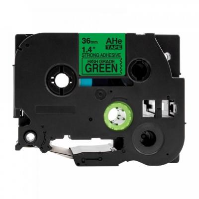 Kompatibilná páska s Brother TZ-S761 / TZe-S761, 36mm x 8m, extr.adh. čierna tlač / zelený podklad