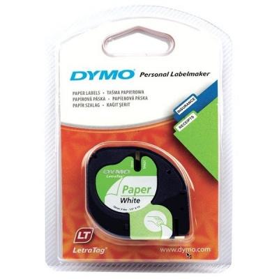 Dymo LetraTag 59421, S0721500, 12mm x 4m čierna tlač / biely podklad, originálná páska