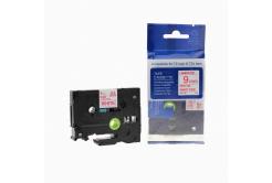 Kompatibilná páska s Brother TZ-222 / TZe-222, 9mm x 8m, červena tlač / biely podklad
