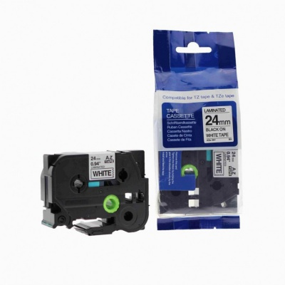 Kompatibilná páska s Brother TZ-251 / TZe-251, 24mm x 8m, čierná tlač / biely podklad