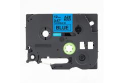 Kompatibilná páska s Brother TZ-FX531 / TZe-FX531,12mm x 8m, flexi, čierna tlač / modrý podklad