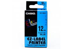 Casio XR-12BU1, 12mm x 8m, čierna tlač/modrý podklad, originálna páska
