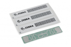 Zebra 10028598 RFID Label, 60 x 25mm, White coated PP, 3 in core, 500/roll (Silverline Blade)