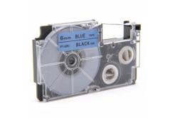 Kompatibilná páska s Casio XR-6BU1, 6mm x 8m čierny tisk / modrý podklad