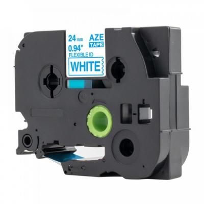 Kompatibilná páska s Brother TZ-FX253 / TZe-FX253, 24mm x 8m, flexi, modra tlač / biely podklad