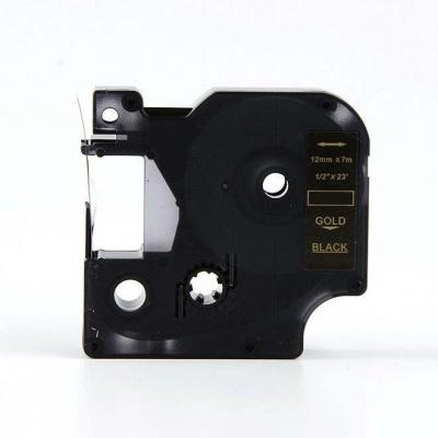 Kompatibilná páska s Dymo 45024, S0720640, 12mm x 7m zlatá tlač / čierny podklad