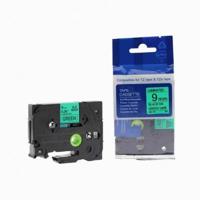 Kompatibilná páska s Brother TZ-721 / TZe-721, 9mm x 8m, čirena tlač / zelený podklad