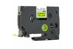 Kompatibilná páska s Brother TZ-C21/TZe-C21, signálne 9mm x 8m, čierna tlač/žltý podklad