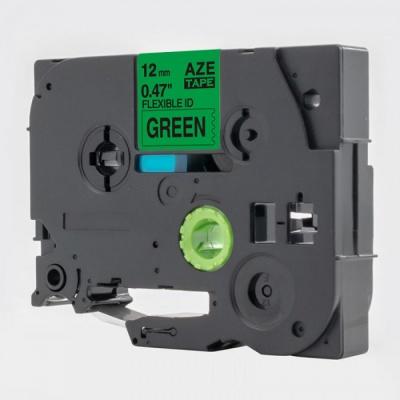 Kompatibilná páska s Brother TZ-FX731 / TZe-FX731, 12mm x 8m, flexi, čierna tlač / zelený podklad