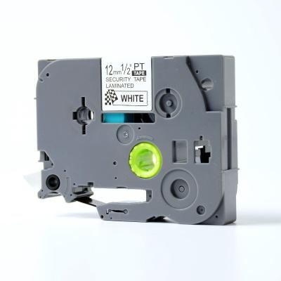 Brother TZ-SE3 / TZe-SE3, 12mm x 8m, černý tisk / bílý podklad, plombovací, kompatibilní páska