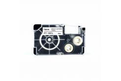 Casio XR-18CL, 18mm x 4m, černý tisk / bílý podklad, čisticí, kompatibilní páska