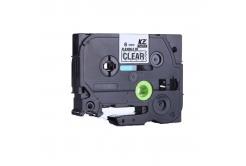 Kompatibilná páska s Brother TZ-FX111/TZe-FX111, 6mm x 8m, flexi, čierna tlač / priehľadný podklad