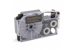 Kompatibilná páska s Casio XR-12BKG 12mm x 8m zlatá tlač / čierny podklad