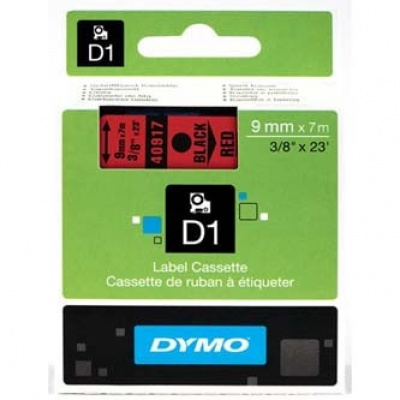 Dymo D1 40917, S0720720, 9mm x 7m, čierna tlač / červený podklad, originálna páska